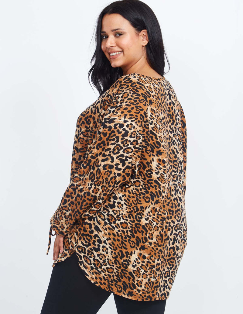 YAMINA - Tie Sleeve Oversized Leopard Print Batwing Top