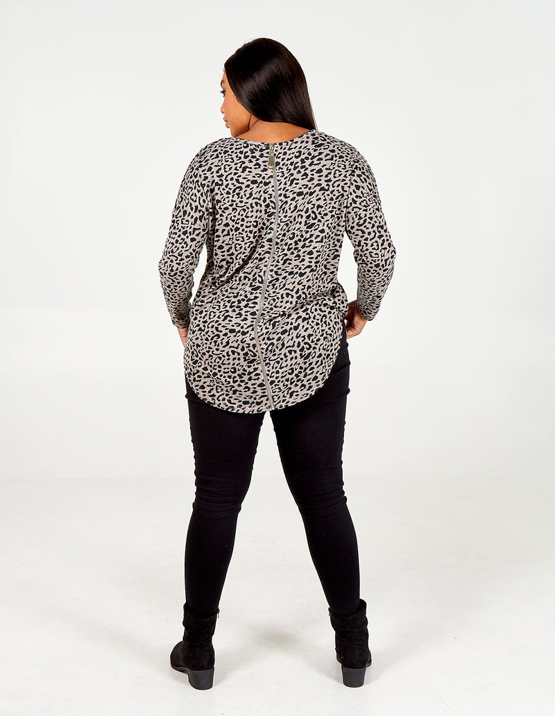MINA - Curve Zip Back Soft Touch Batwing Top