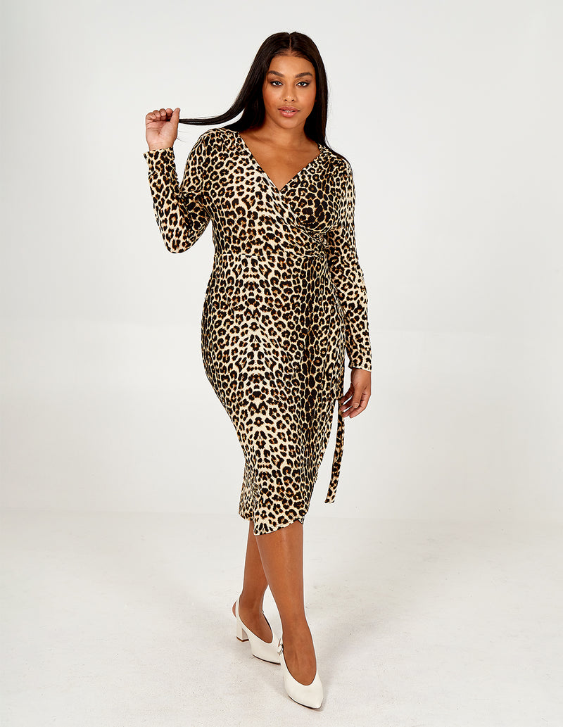 ALANA - Curve Leopard Wrap Over Soft Touch Dress