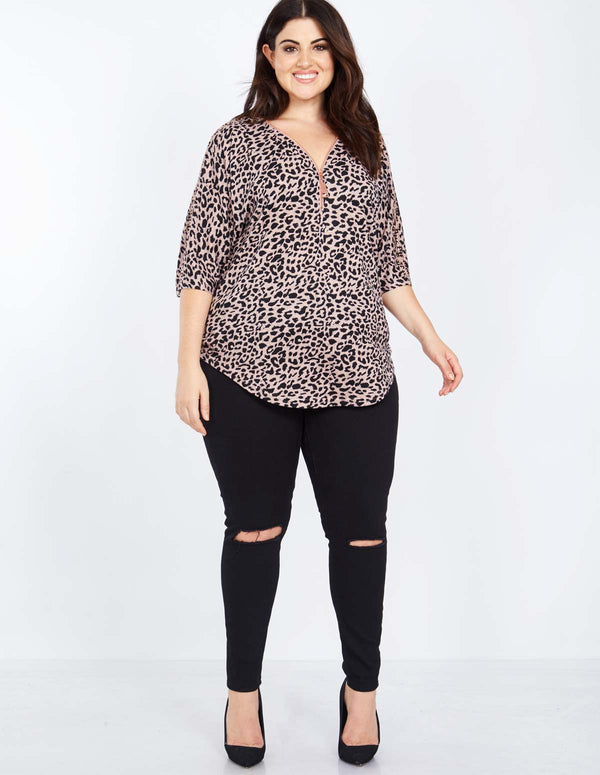OLIVIA - Curve Zip Front Soft Touch Sequin Sleeve Top