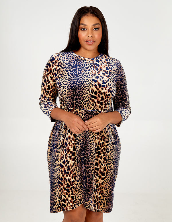 MELODY - Curve Soft Touch Leopard Print Dress