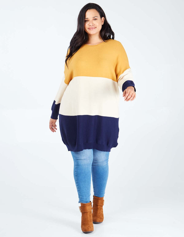 RENEE - Curve Ribbed Oversized Colour Block Jumper