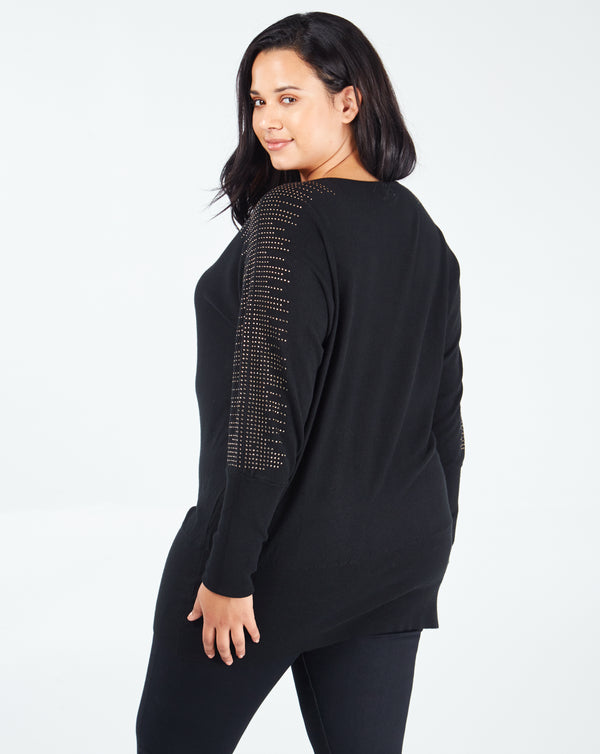 VANESSA - Diamante Shoulder Detail Batwing Black Jumper