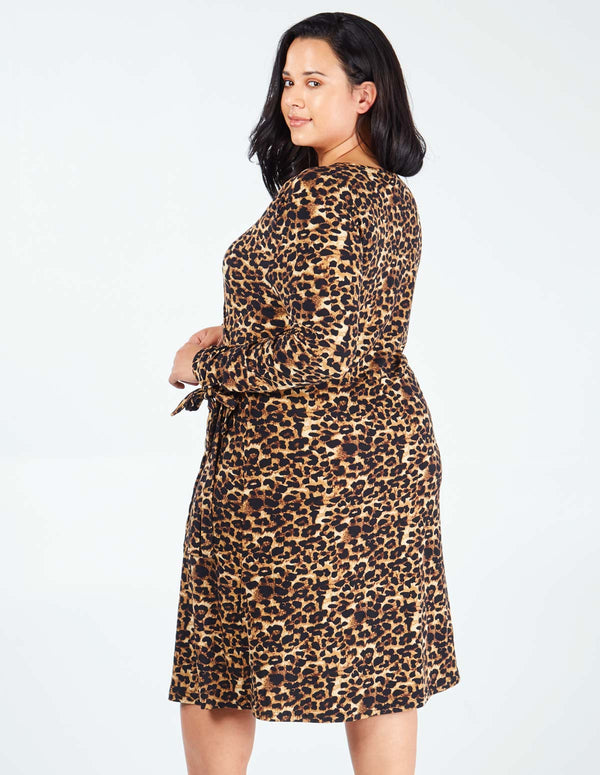 TANGELA - Leopard Print Tie Sleeve Wrap Dress