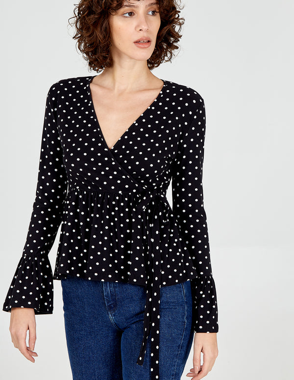 DARLA - Frilled Polka Dot Print Top