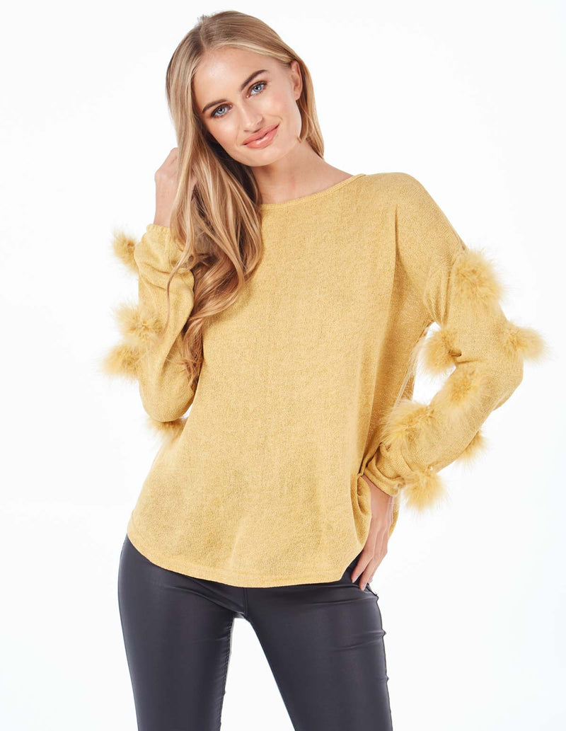 REBECCA - Feather Trim Zip Back Mustard Jumper