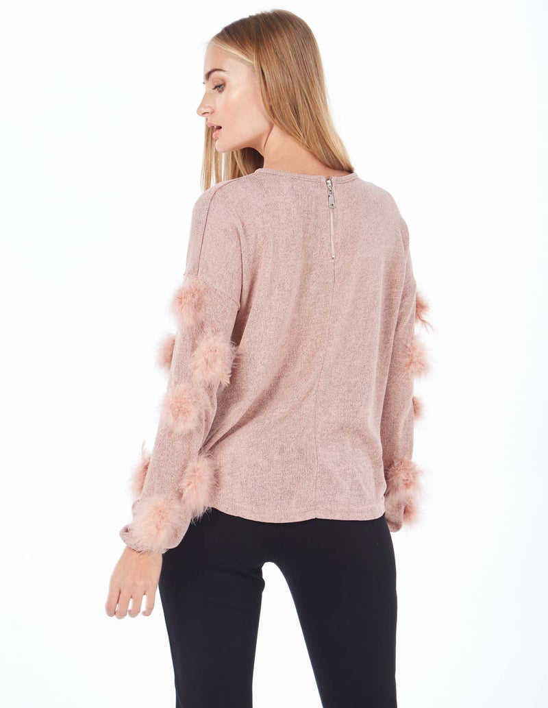 REBECCA - Feather Trim Zip Back Pink Jumper