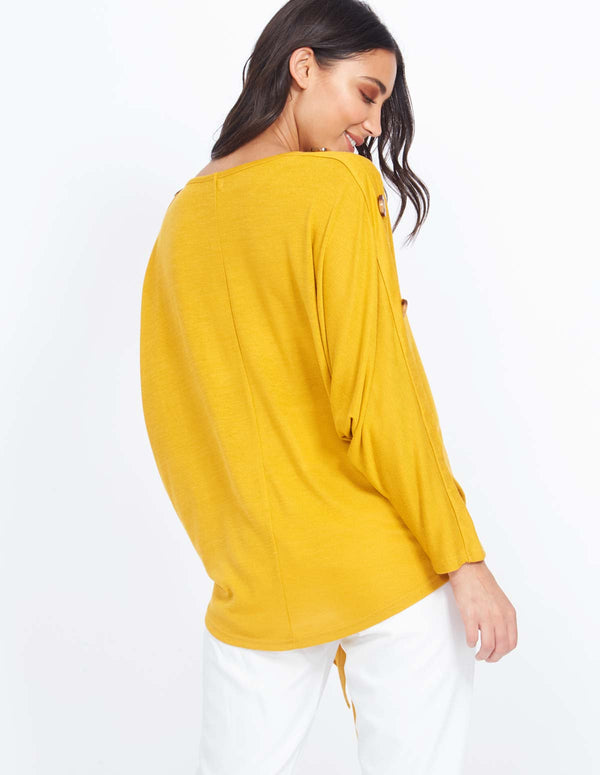 ANDREA - Button Detail Knot Front Mustard Top