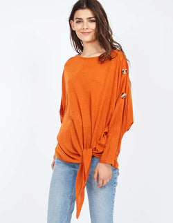 ANDREA - Button Detail Knot Front Rust Top