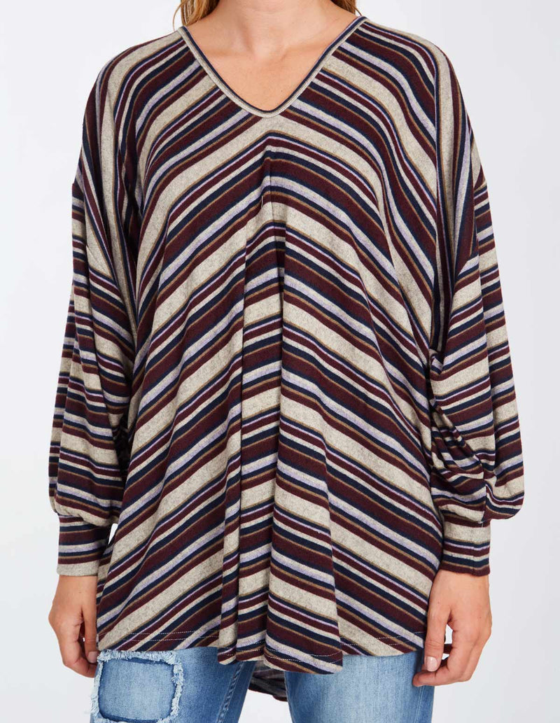 NERINE - Striped V-Neck Oversize Mulberry Tunic Top