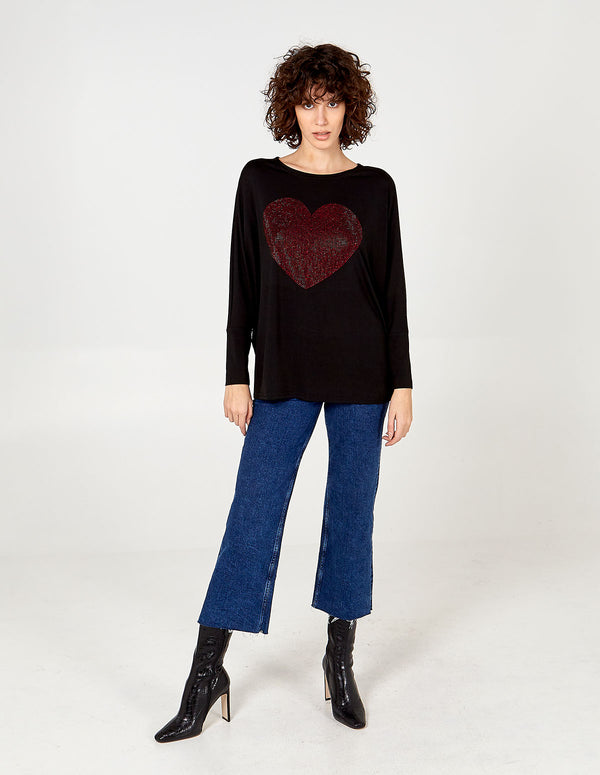 KIARA - Heart Diamante Oversize Top