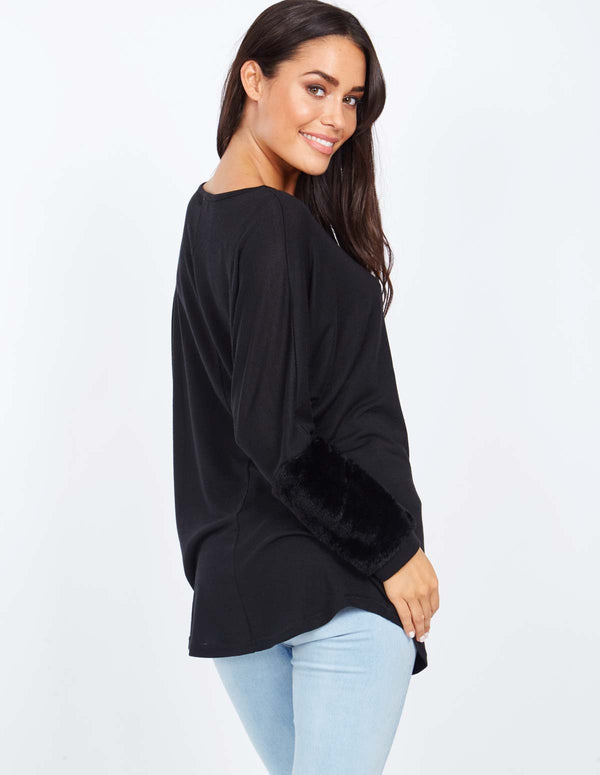ORALIE - Faux Fur Panel Oversized Black Batwing Top