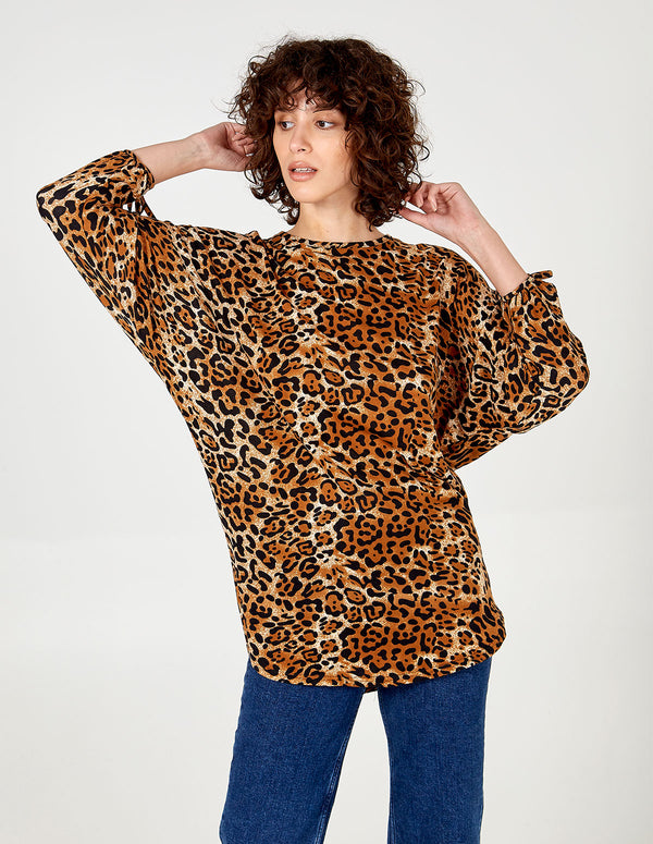BELLA - Tie Sleeve Oversized Batwing Tunic Top