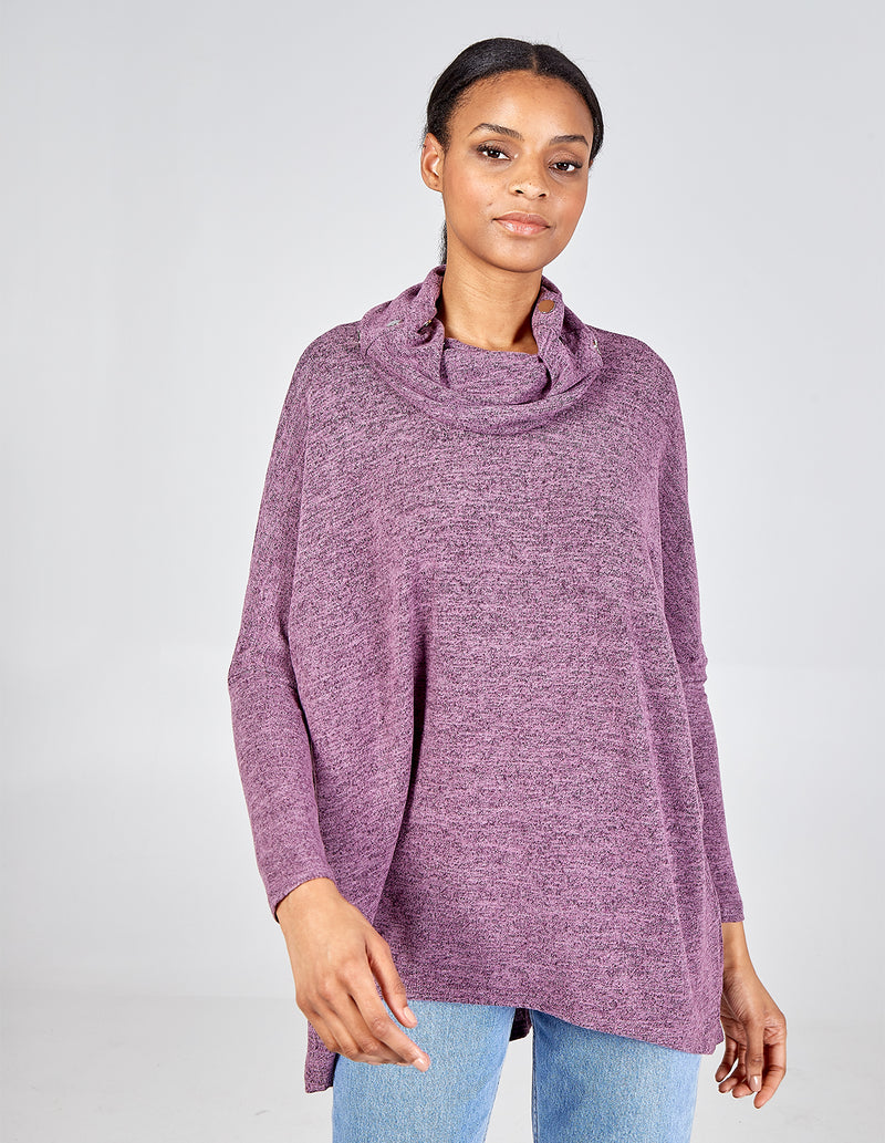 WANDA - Soft Touch Cowl Neck High Low Tunic Top