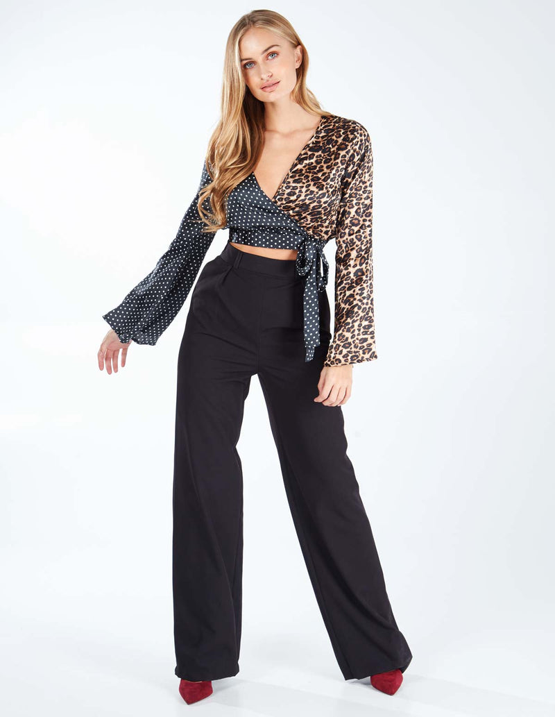 LESIA - Wrap Flared Sleeve Crop Top