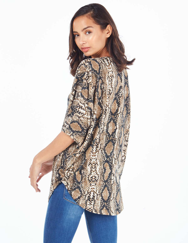 LETITIA - Tan Snake Print Zip Front Batwing Top