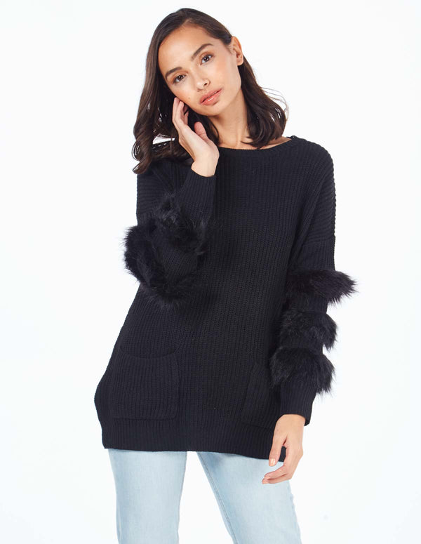 CECILY - Fur Trim Sleeve Pocket Black Jumper