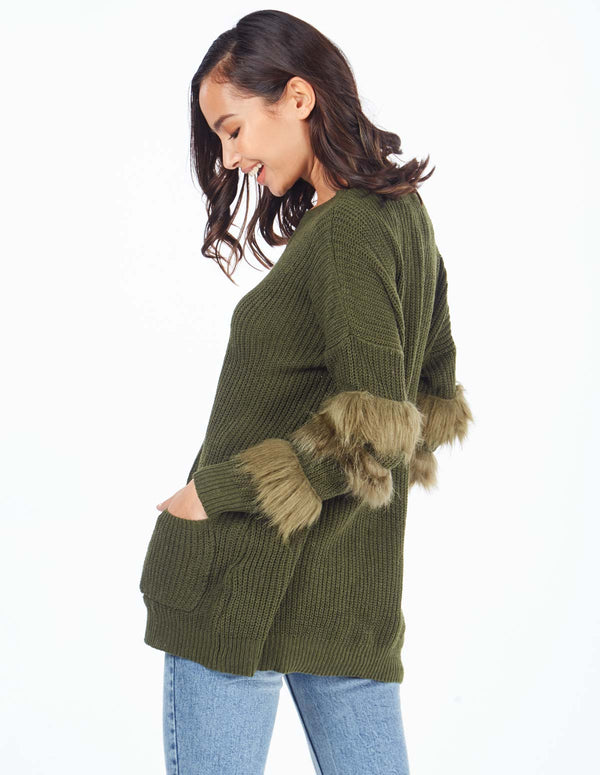 CECILY - Fur Trim Sleeve Pocket Khaki Jumper