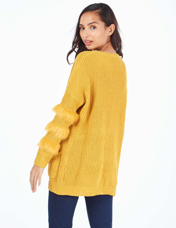 CECILY - Fur Trim Sleeve Pocket Mustard Jumper