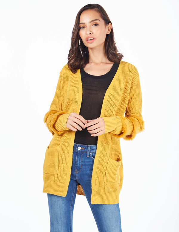 DENISE - Fur Trim Cuff Mustard Cardigan