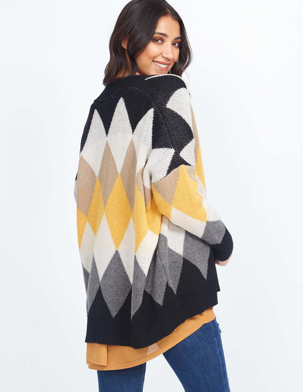 VARINA - Diamante Pattern Multi Colour Cardigan