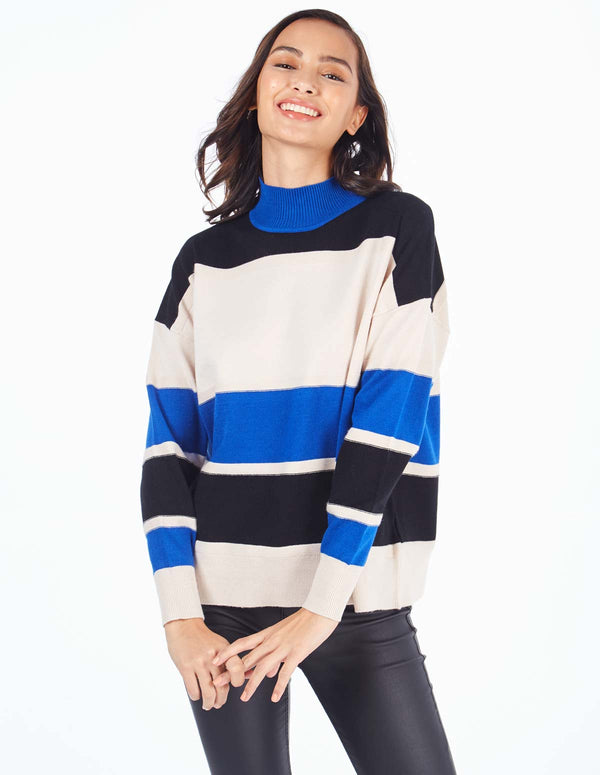 SHANNEN - High Neck Block Stripe Cobalt Jumper