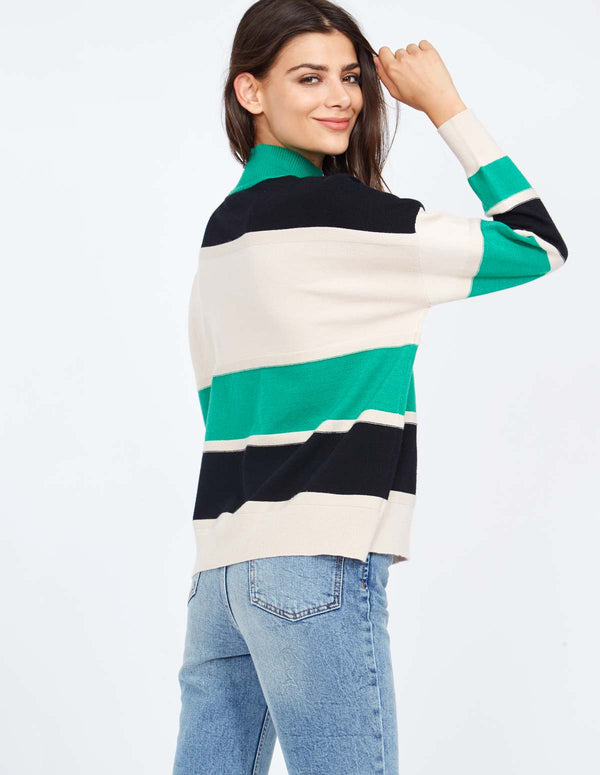 SHANNEN - High Neck Block Stripe Green Jumper