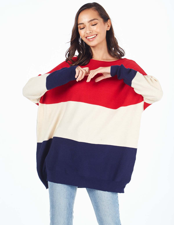 BERYL - Red Oversize Colour Block Jumper