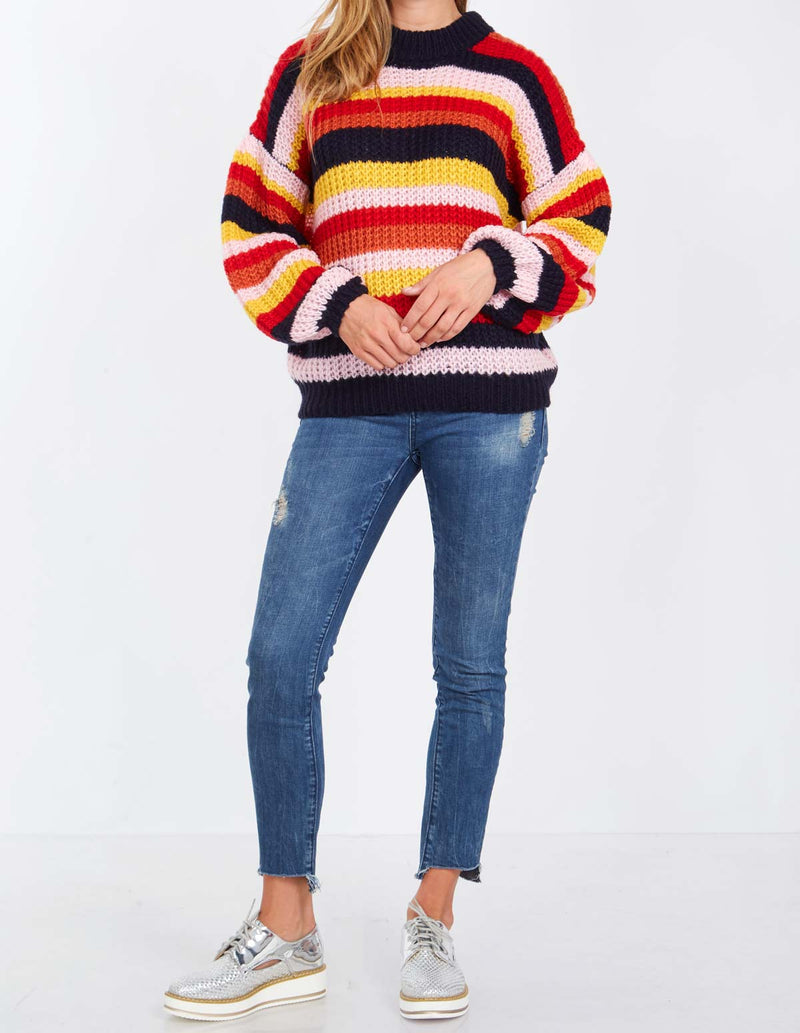 BERNICE - Striped Flufly Knit Jumper
