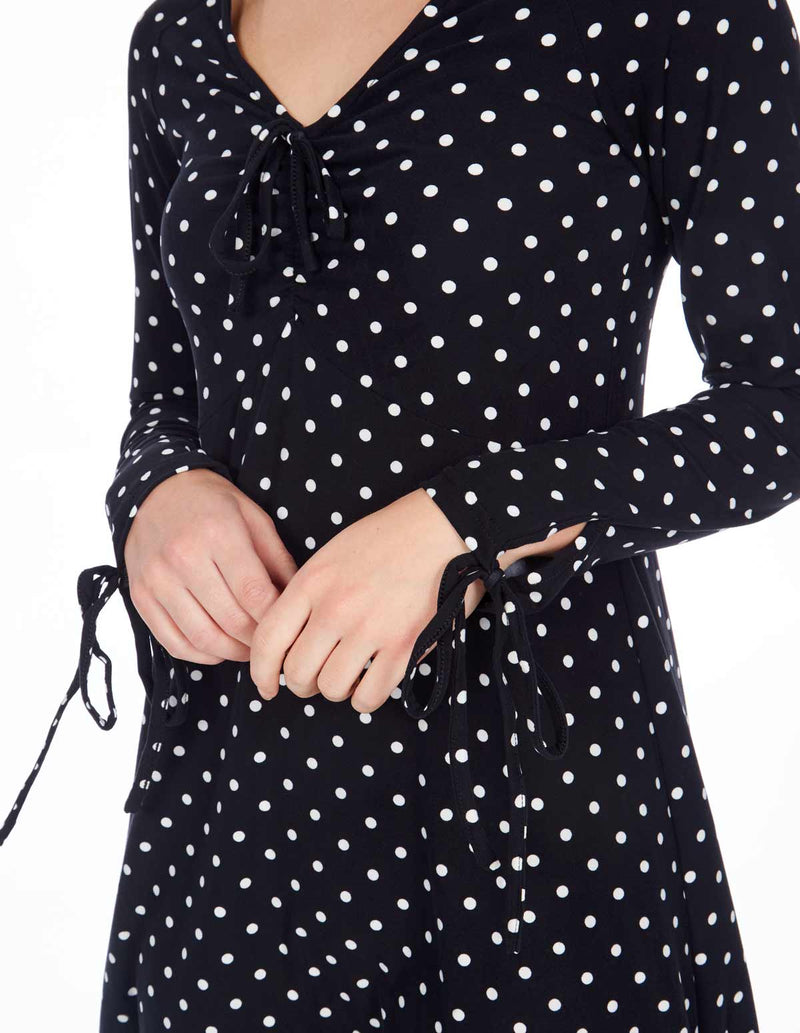CASSIE - Long Sleeve Ruched Front Polka Dot Black Dress