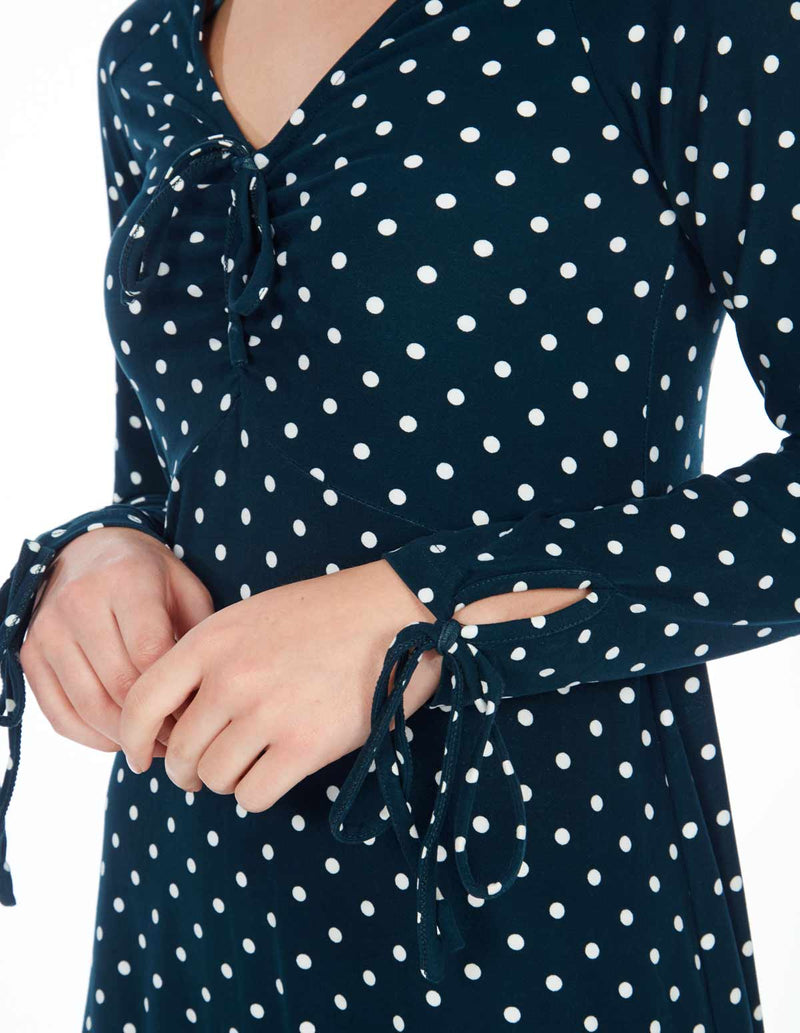 CASSIE - Long Sleeve Ruched Front Polka Dot Green Dress