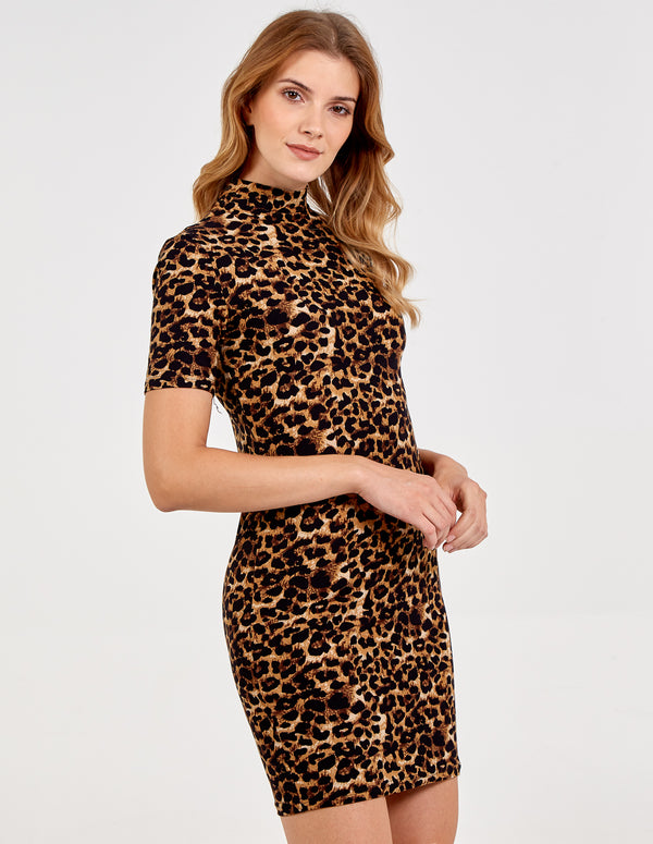 TAMSIN - Leopard High Neck Bodycon Dress