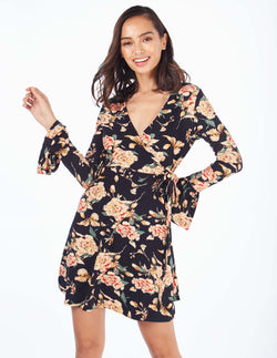 ROWAN - Wrap Flare Sleeve Floral Print Black Dress