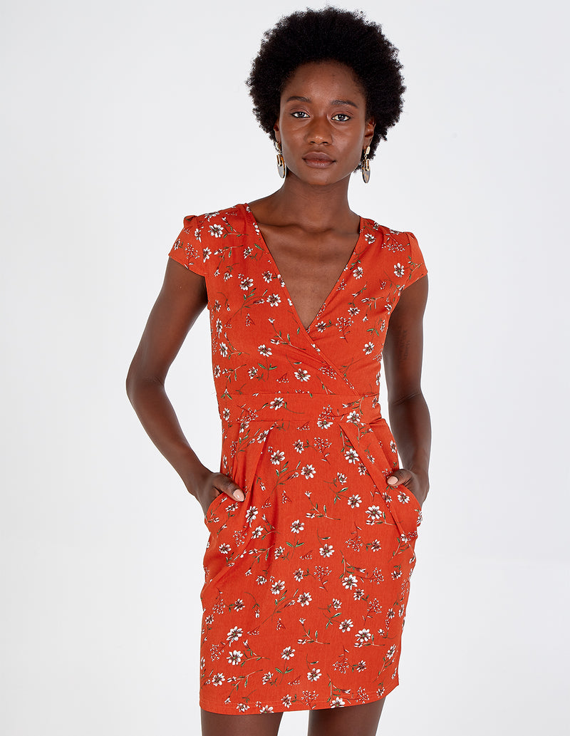 HAILEY - Rust Front Wrap Tulip Dress