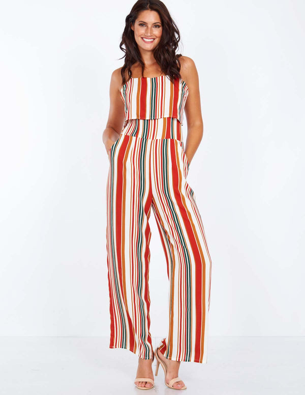 4f56a72743 PAULINE - Layered Top Striped Jumpsuit PAULINE - Layered Top Striped  Jumpsuit