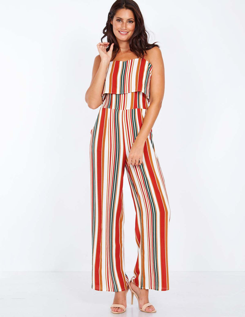 PAULINE - Layered Top Striped Jumpsuit