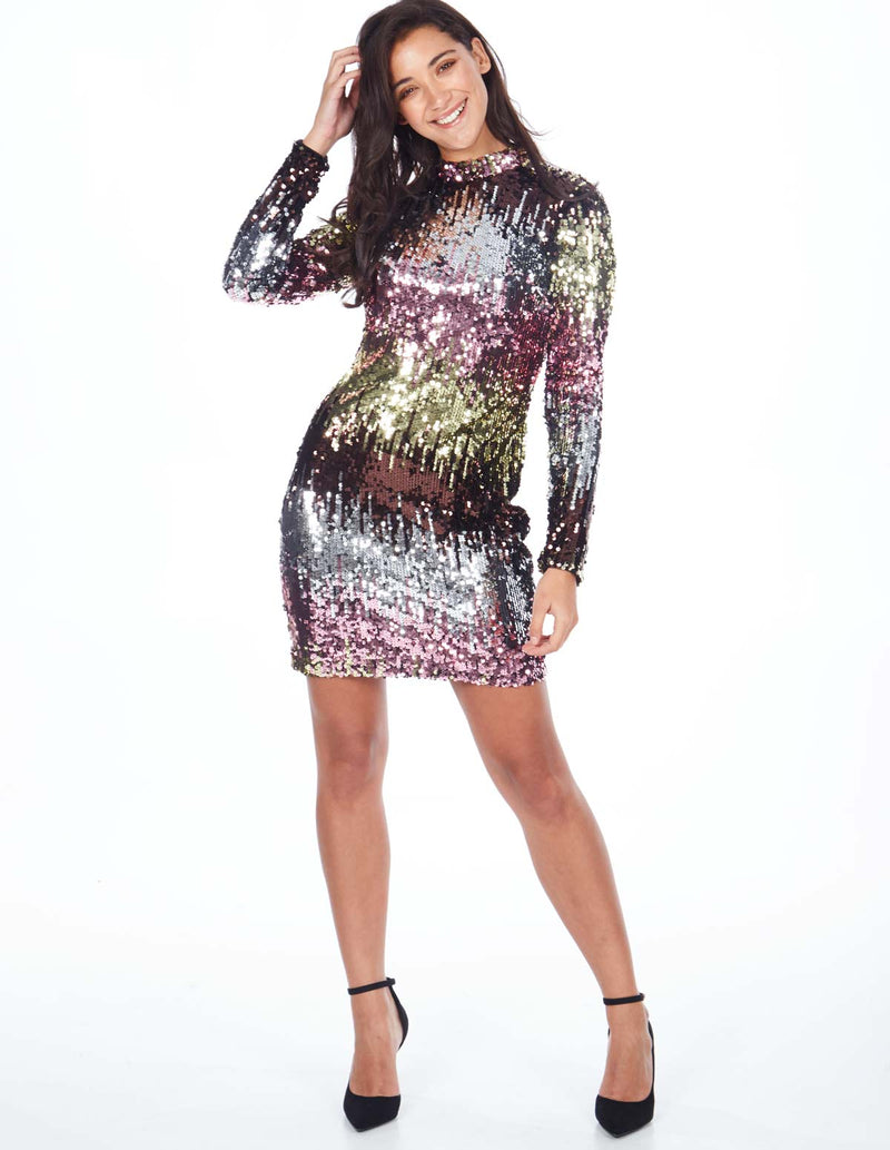 MILEY - High Neck Ombre Multi Sequin Dress