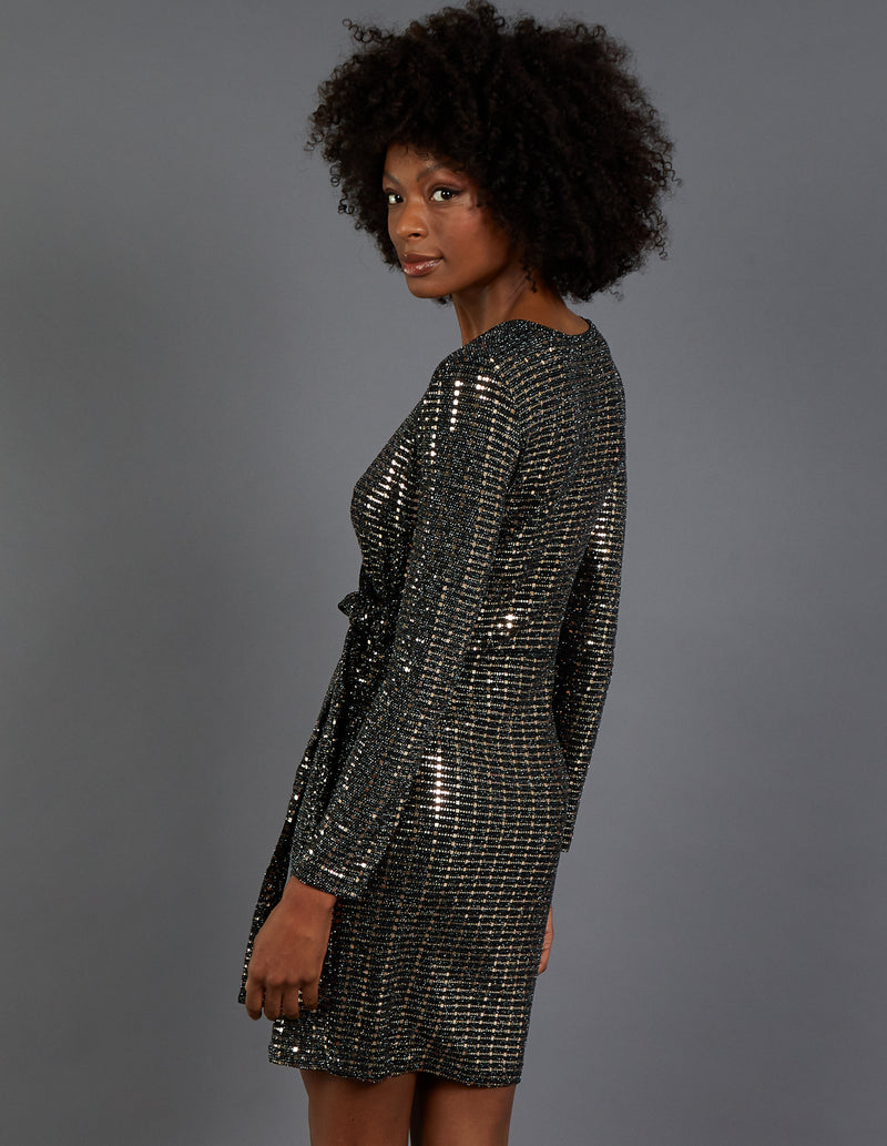 ARLA - Mirrored Wrap Front Long Sleeve Dress