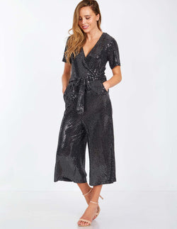 BRITTA - Wrap Front Sequinned Black Jumpsuit