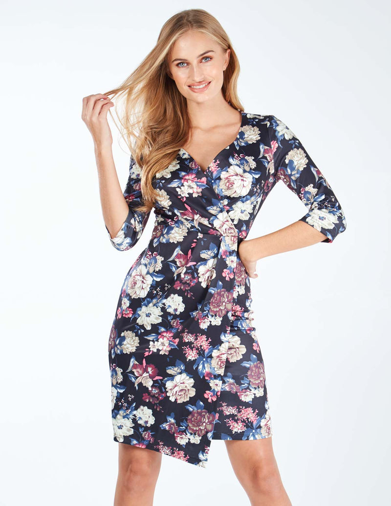 ABIGAIL - Wrap Front Pleated Floral Print Dress