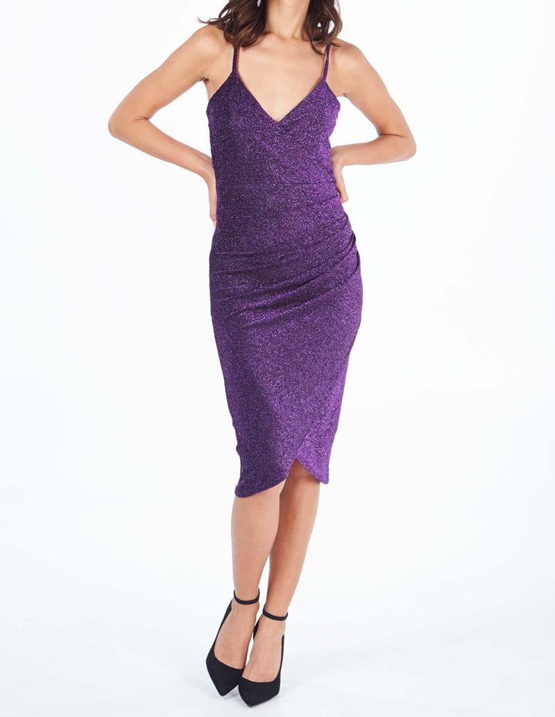 PAOLA - Drape Front Bodycon Purple Dress