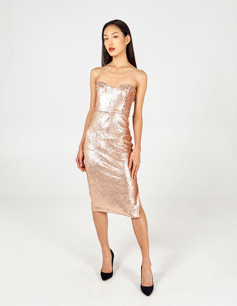 BELLA - Sweetheart Sequin Midi Dress