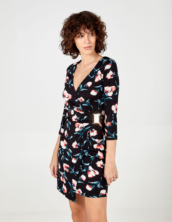 MARTHA - Floral Asymmetrical Wrap Dress