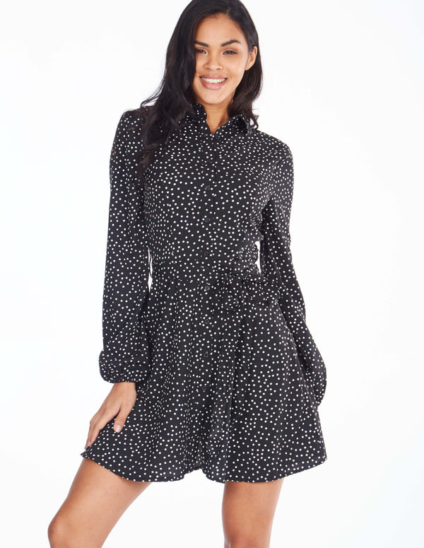 NELLA - Long Sleeve Buttoned Front Polka Dot Black Dress