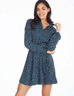 NELLA - Long Sleeve Buttoned Front Polka Dot Green Dress