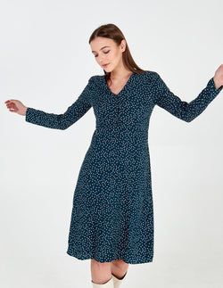 PEYTON - Buttoned Front Midi Green Polka Dot Dress