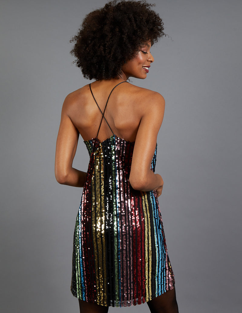 VALERIA - Stripe Sequin Cami Multi Dress