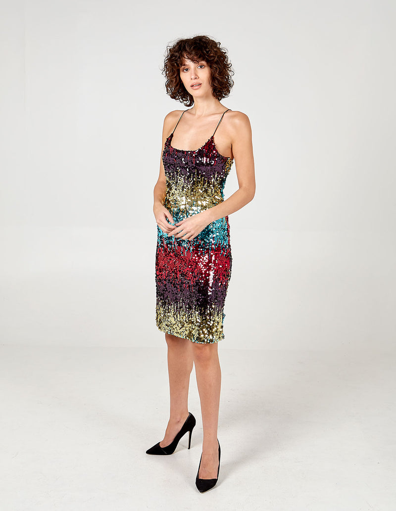 CHIARA - Ombre Sequin Midi Dress