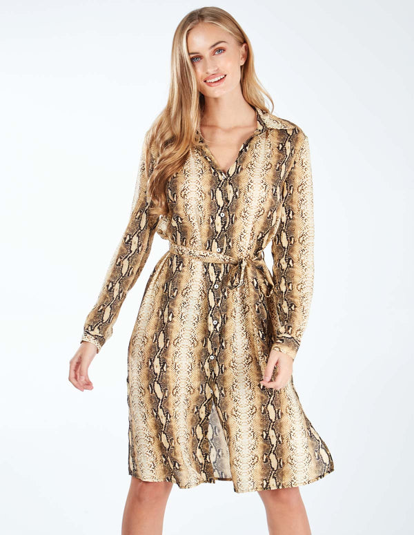 DANIELLE - Belted Gold Snakeskin Shirt Dress