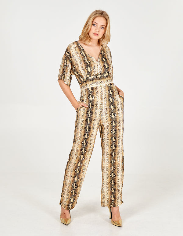 SAMARA - Short Sleeve Gold Snakeskin Jumpsuit